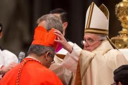 Sa saintete francois remet la barrette de cardinal a mgr mafi le 14 fevrier 2015